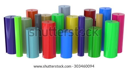 Rolls of plastic isolated on white - stock photo