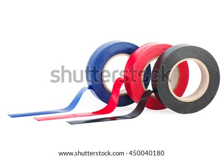 Rolls of red, blue and black insulation tape isolated on white background - stock photo