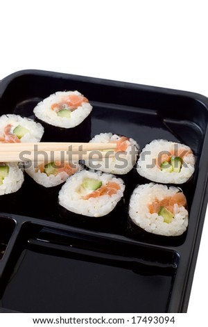 Rolls of sushi on a plate with chopsticks