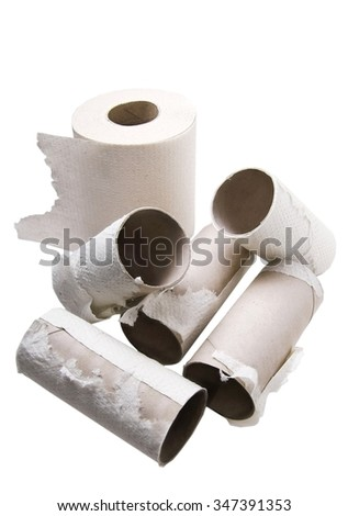 Rolls of toilet paper made from recycled paper
