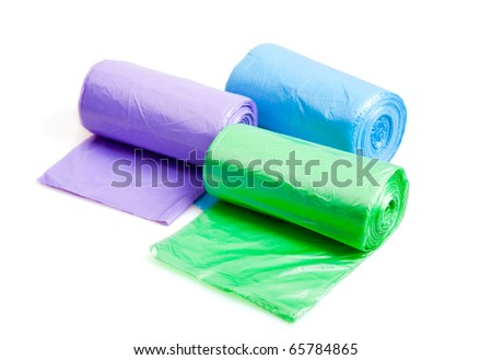 Rolls of trash bags - stock photo