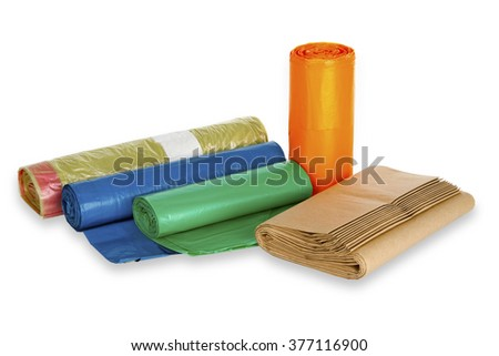 Rolls of trash bags on white background  - stock photo