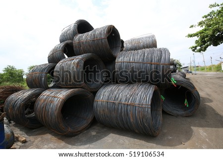 Rolls of wire in industrial factory
