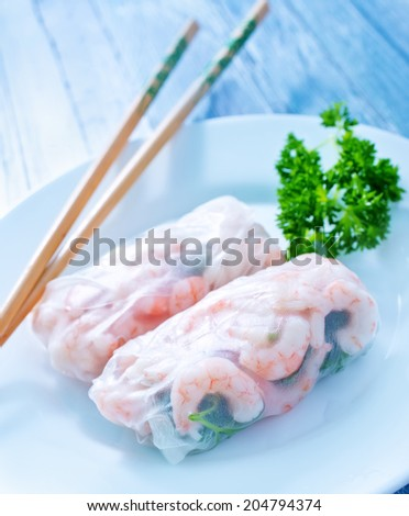 rolls with shrimps