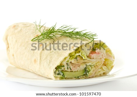 rolls with vegetables and crab sticks on a white background - stock photo