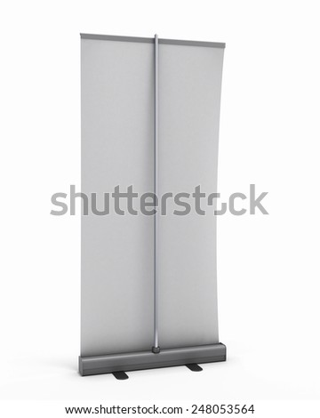 Rollup back view isolated on white background. 3d render image. - stock photo