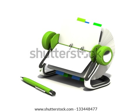 Rolodex and pen on white background