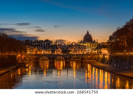 Roma by night. San Pietro - stock photo