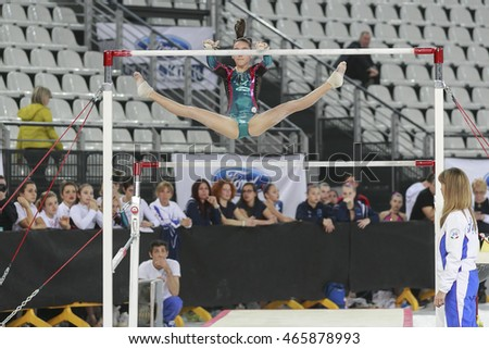 Roma, Italy -  2 April 2016: Serie A & B National FGI Artistic Gymnastics Cup