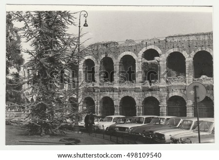 ROMA, ITALY - CIRCA 1970s: Vintage photo shows the Coloseum - historical monument in Roma.  Retro black & white  photography.