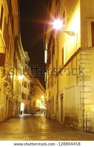 Roma, night street view in old town - stock photo
