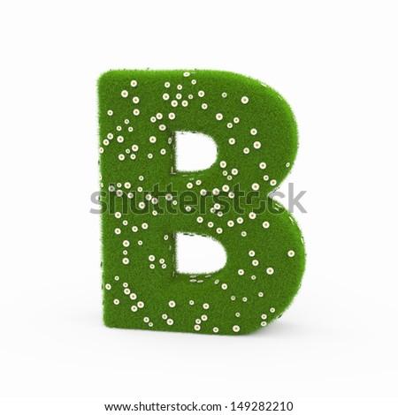 Roman alphabet of green and daisies B - stock photo