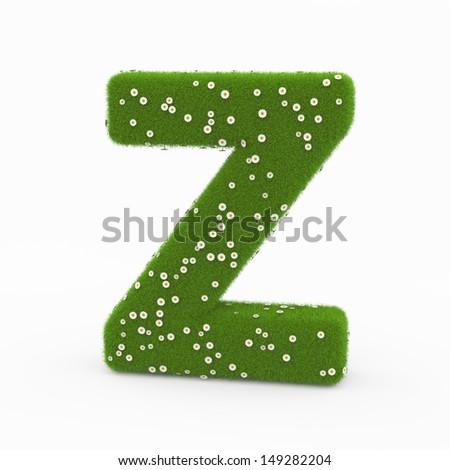 Roman alphabet of green and daisies Z - stock photo