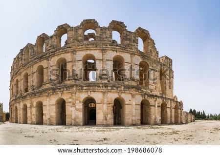 Roman amphitheater inEl Djem. Panorama, Africa, Tunisia - stock photo