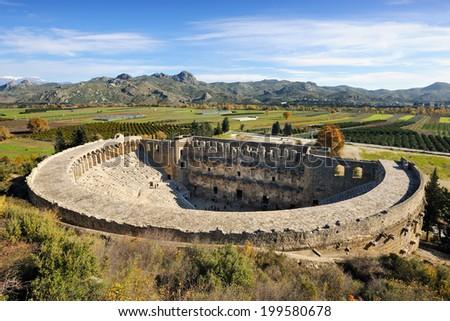Roman amphitheater of Aspendos, Belkiz, Antalya, Turkey - stock photo