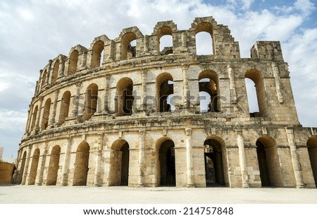 Roman amphitheater of El-Jam, colosseum, Tunisia - stock photo