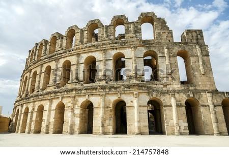 Roman amphitheater of El-Jam, colosseum, Tunisia - stock photo