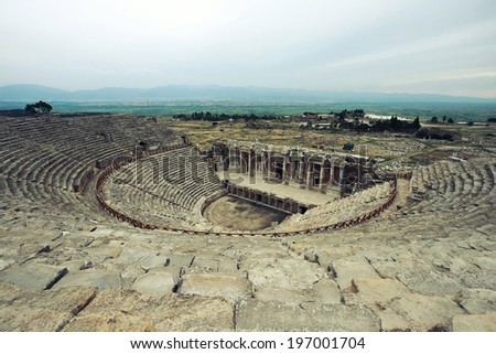 Roman amphitheater of Hierapolis, Pamukkale, Turkey, old civilisation sights - stock photo