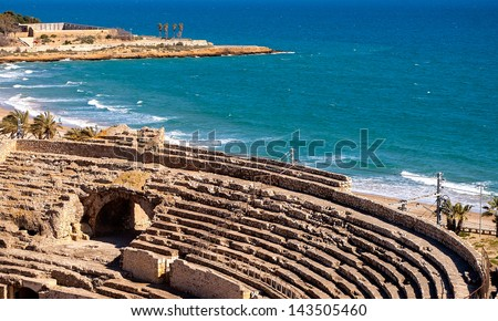 Roman amphitheater of Tarragona.Catalonia.Spain - stock photo