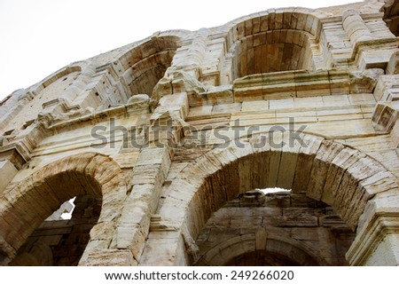 Roman amphitheatre in Arles (Bouches-du-Rhone, Provence-Alpes-Cote d'Azur, France) - stock photo