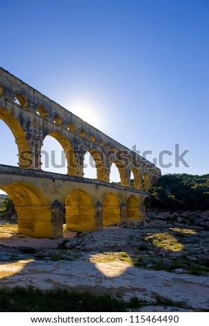 Roman aqueduct, Pont du Gard, Languedoc-Roussillon, France - stock photo