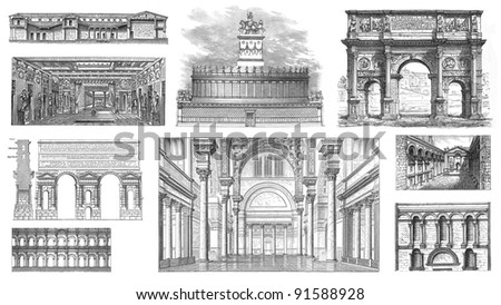 roman architecture vintage illustration from meyers konversations lexikon 1897 - Roman Architecture