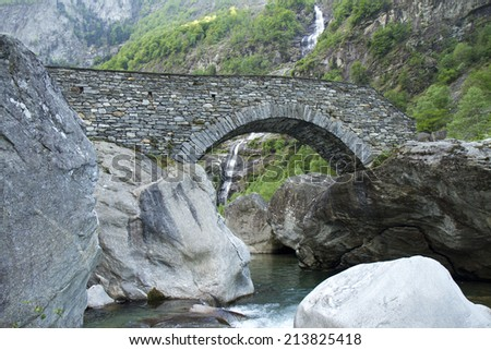 roman bridge (alps / switzerland) - stock photo