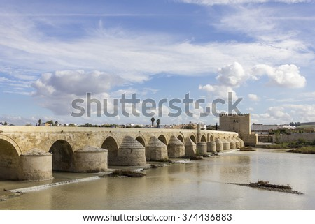 Roman Bridge and Calahorra tower in Cordoba - Spain