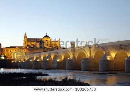 Roman Bridge and Mosque of Cordoba - Spain - stock photo