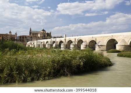 Roman Bridge built in the early 1st century BC across the Guadalquivir river in Cordoba, Spain