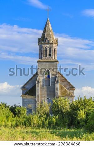 Roman Catholic Church in Fish Creek, Saskatchewan - stock photo