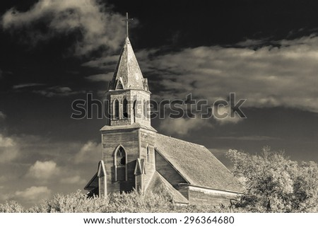Roman Catholic Church in Fish Creek, Saskatchewan - stock photo