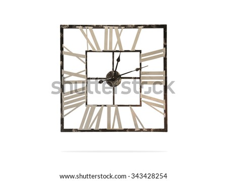Roman clock. Vintage isolated. Wall clock. Old clock. Vintage design. Retro clock. Clock isolated. Antique clock. Clipping path clock. Old design clock. Analog clock. Vintage style. Grunge clock. Old - stock photo