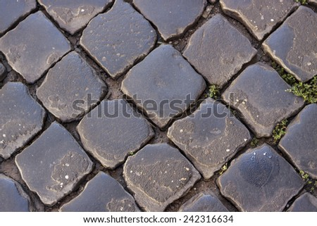 Roman cobblestone street - stock photo