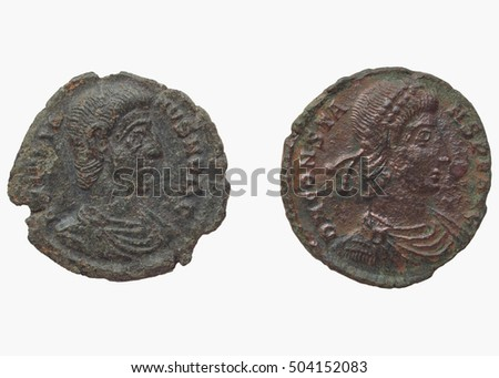 Roman coins dating back to the IV century, Constantius I, emperor from 305 to 306 and Constantinus, emperor from 306 to 337 - rear side