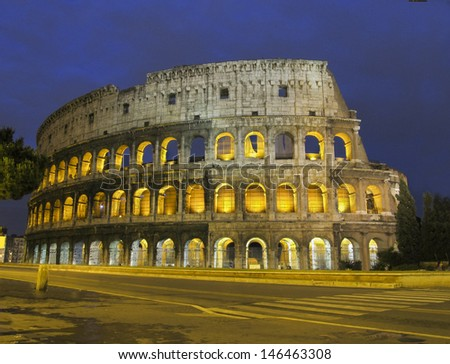 Roman coliseum at night with streaks of light
