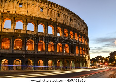 Roman Coliseum at sunset with light trails