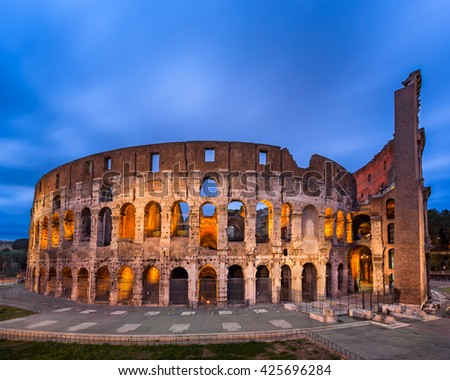Roman Colosseum (Flavian Amphitheatre) in the Evening, Rome, Italy - stock photo