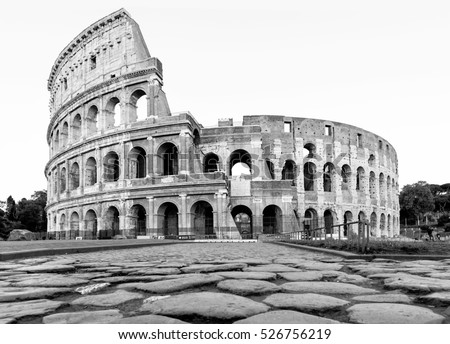 Roman colosseum in italy during the day in black and white