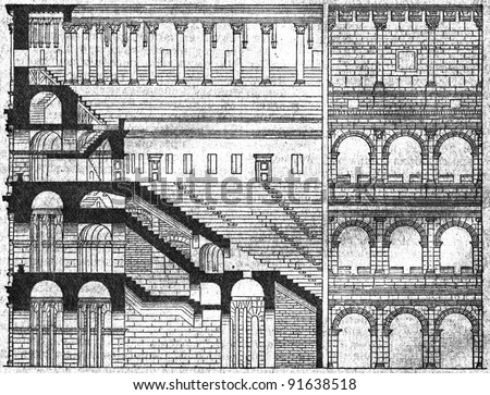 Roman Colosseum in the section - an illustration of the encyclopedia publishers Education, St. Petersburg, Russian Empire, 1896 - stock photo
