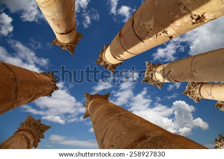 Roman Columns in the Jordanian city of Jerash (Gerasa of Antiquity), capital and largest city of Jerash Governorate, Jordan  - stock photo