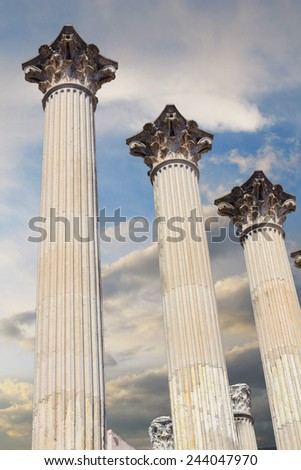 Roman columns of the second century before Christ in Cordoba, Spain - stock photo