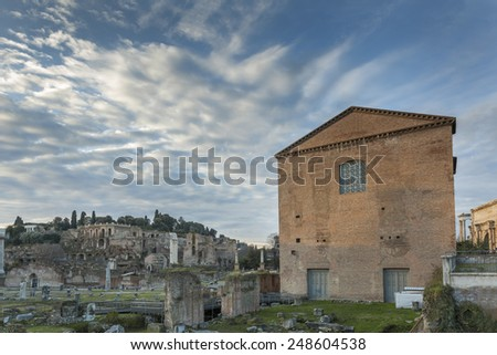 Roman Curia and ruins on Roman forum in Rome, Italy - stock photo