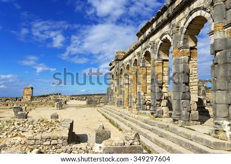 Roman Empire ruins of Volubilis, Morocco, Africa - stock photo