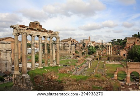 Roman Forum - ancient ruins in the center of Rome in Italy - stock photo