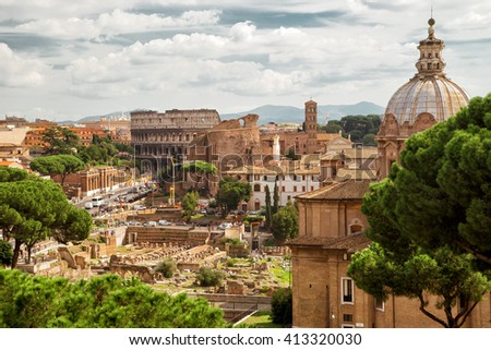 Roman Forum and Colosseum in the distance in Rome, Italy - stock photo
