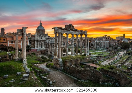 Roman Forum at Sunrise in Rome, Italy