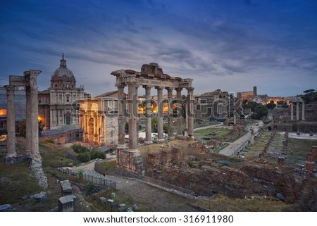 Roman Forum. Image of ruins of Roman Forum in Rome, Italy. - stock photo