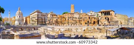 Roman forum in Rome, Italy.Panorama - stock photo