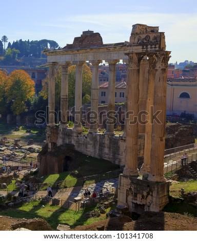 Roman Forum, people visiting, HDR shot - stock photo